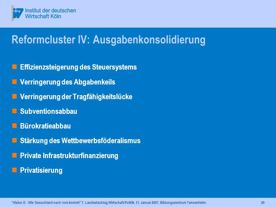 Reformcluster IV: Ausgabenkonsolidierung