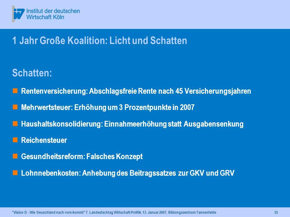 1 Jahr Große Koalition: Licht und Schatten
