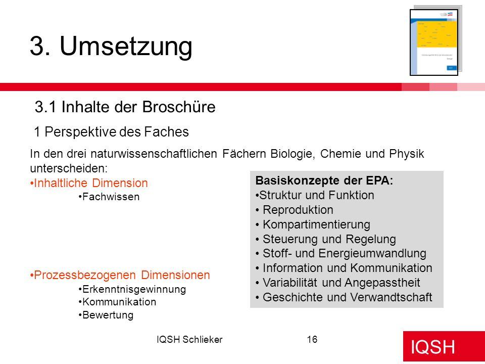 3. Umsetzung 3.1 Inhalte der Broschüre 1 Perspektive des Faches