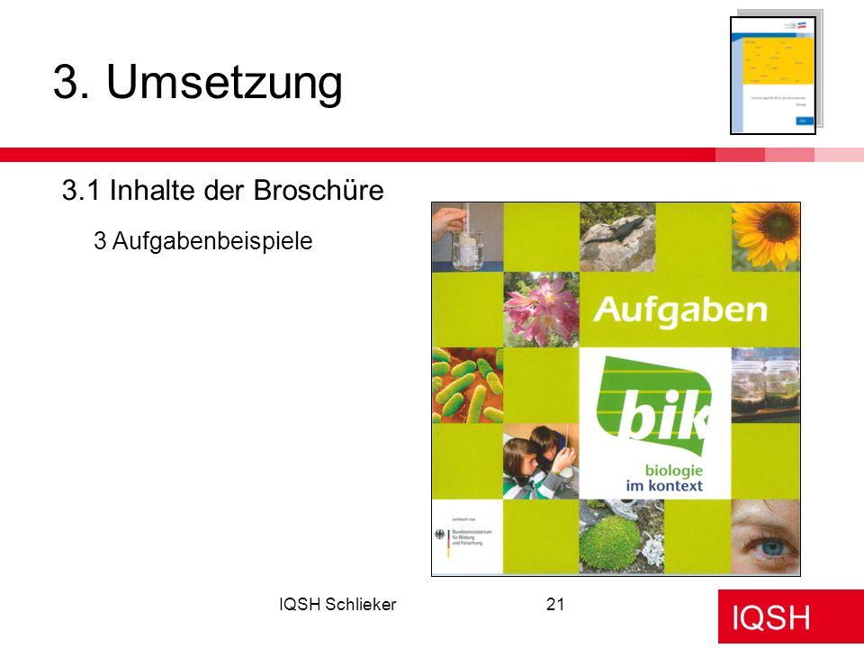 3. Umsetzung 3.1 Inhalte der Broschüre 3 Aufgabenbeispiele