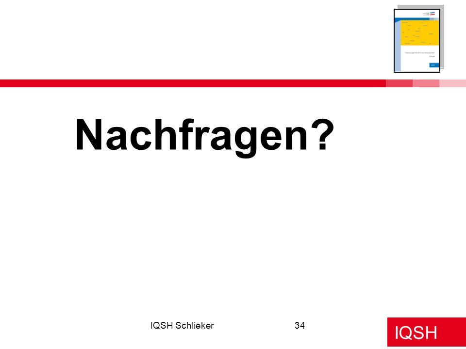 Nachfragen IQSH Schlieker Beginn der Aussprache!