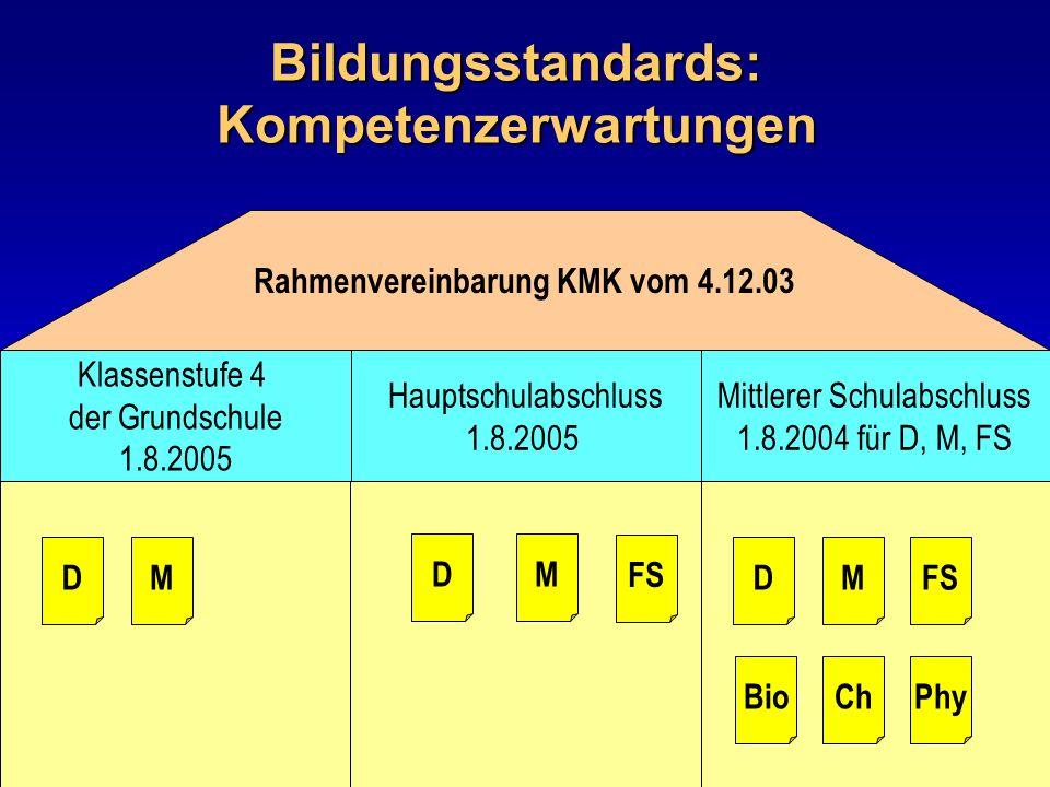 Bildungsstandards: Kompetenzerwartungen