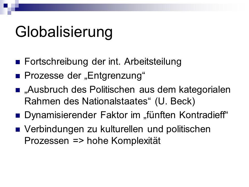 Globalisierung Fortschreibung der int. Arbeitsteilung