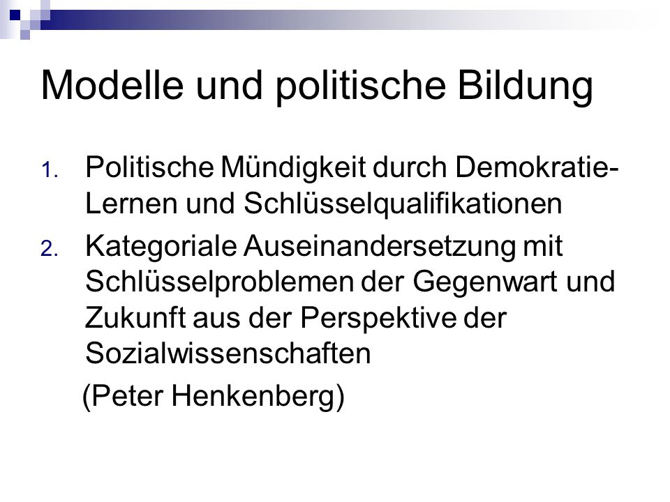 Modelle und politische Bildung