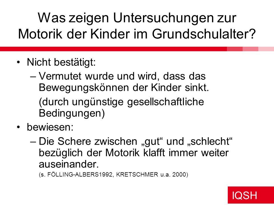 Was zeigen Untersuchungen zur Motorik der Kinder im Grundschulalter