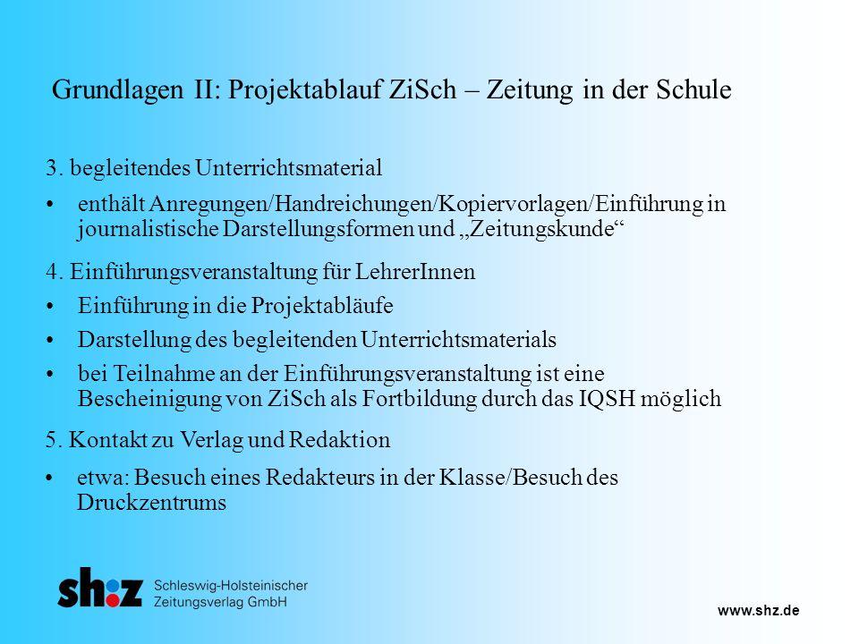 Grundlagen II: Projektablauf ZiSch – Zeitung in der Schule