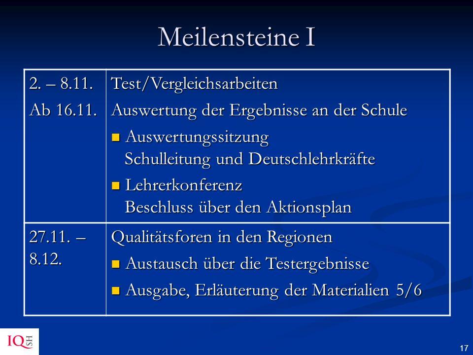 Meilensteine I 2. – 8.11. Ab 16.11. Test/Vergleichsarbeiten