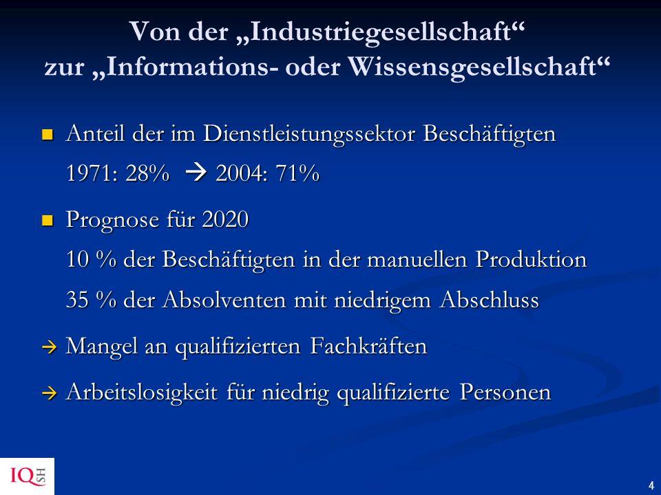 """Von der """"Industriegesellschaft zur """"Informations- oder Wissensgesellschaft"""