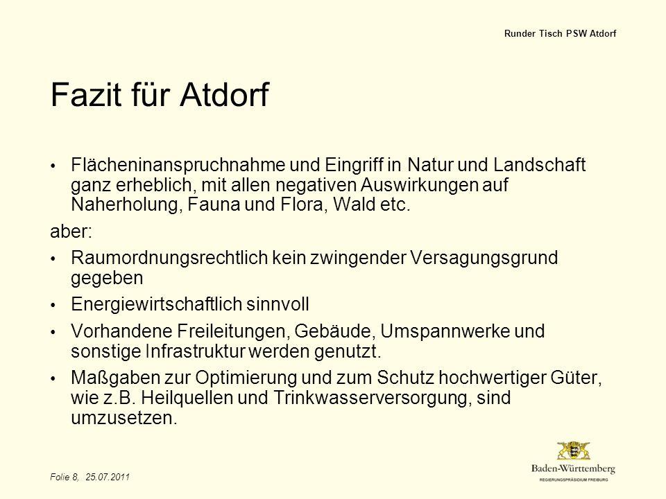 Titel des Vortrags Runder Tisch PSW Atdorf. Fazit für Atdorf.