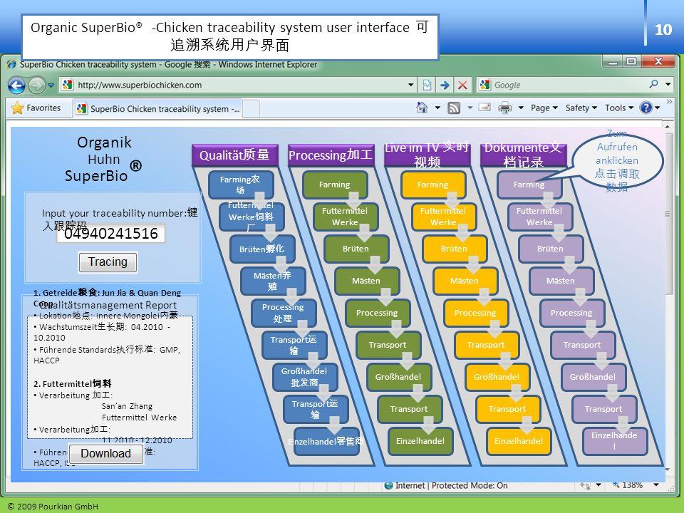 Organic SuperBio® -Chicken traceability system user interface 可追溯系统用户界面