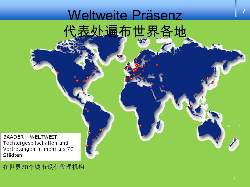 Weltweite Präsenz 代表处遍布世界各地