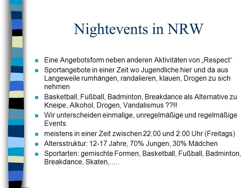 """Nightevents in NRW Eine Angebotsform neben anderen Aktivitäten von """"Respect"""