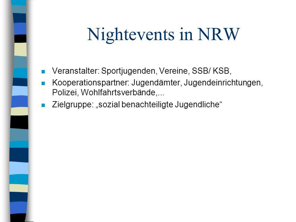 Nightevents in NRW Veranstalter: Sportjugenden, Vereine, SSB/ KSB,