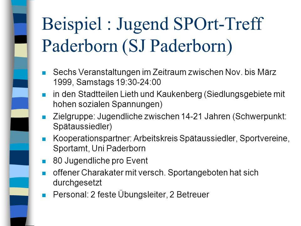 Beispiel : Jugend SPOrt-Treff Paderborn (SJ Paderborn)