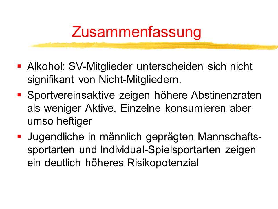 Zusammenfassung Alkohol: SV-Mitglieder unterscheiden sich nicht signifikant von Nicht-Mitgliedern.