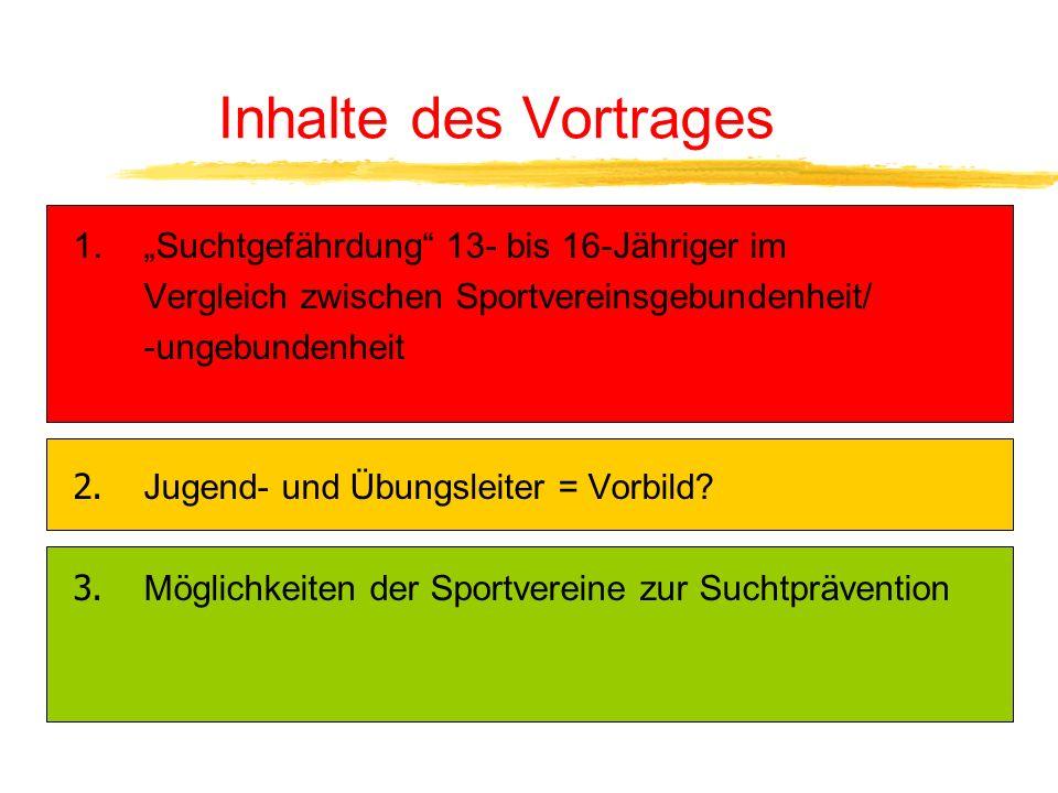"""Inhalte des Vortrages """"Suchtgefährdung 13- bis 16-Jähriger im"""