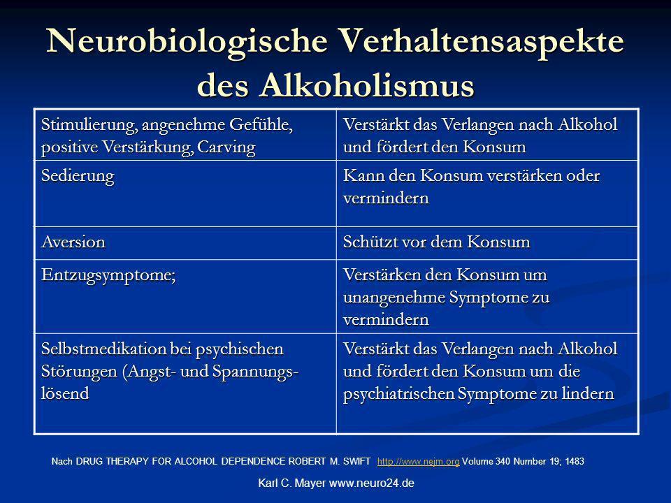 Neurobiologische Verhaltensaspekte des Alkoholismus