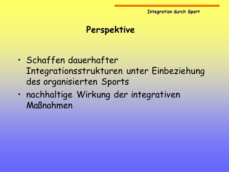 PerspektiveSchaffen dauerhafter Integrationsstrukturen unter Einbeziehung des organisierten Sports.