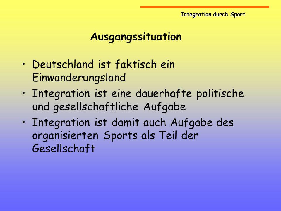 Ausgangssituation Deutschland ist faktisch ein Einwanderungsland. Integration ist eine dauerhafte politische und gesellschaftliche Aufgabe.