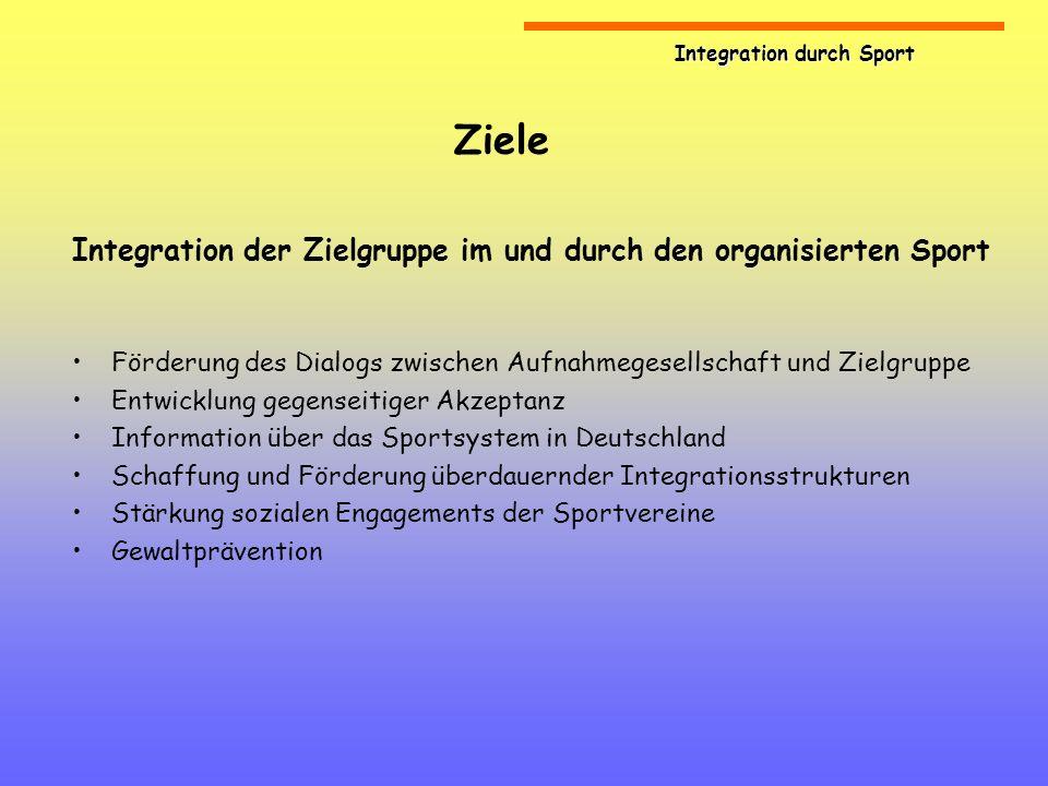 Ziele Integration der Zielgruppe im und durch den organisierten Sport