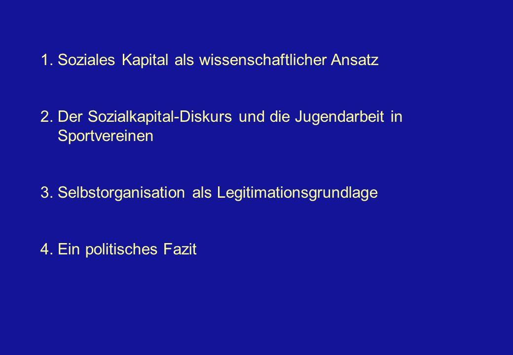 1. Soziales Kapital als wissenschaftlicher Ansatz