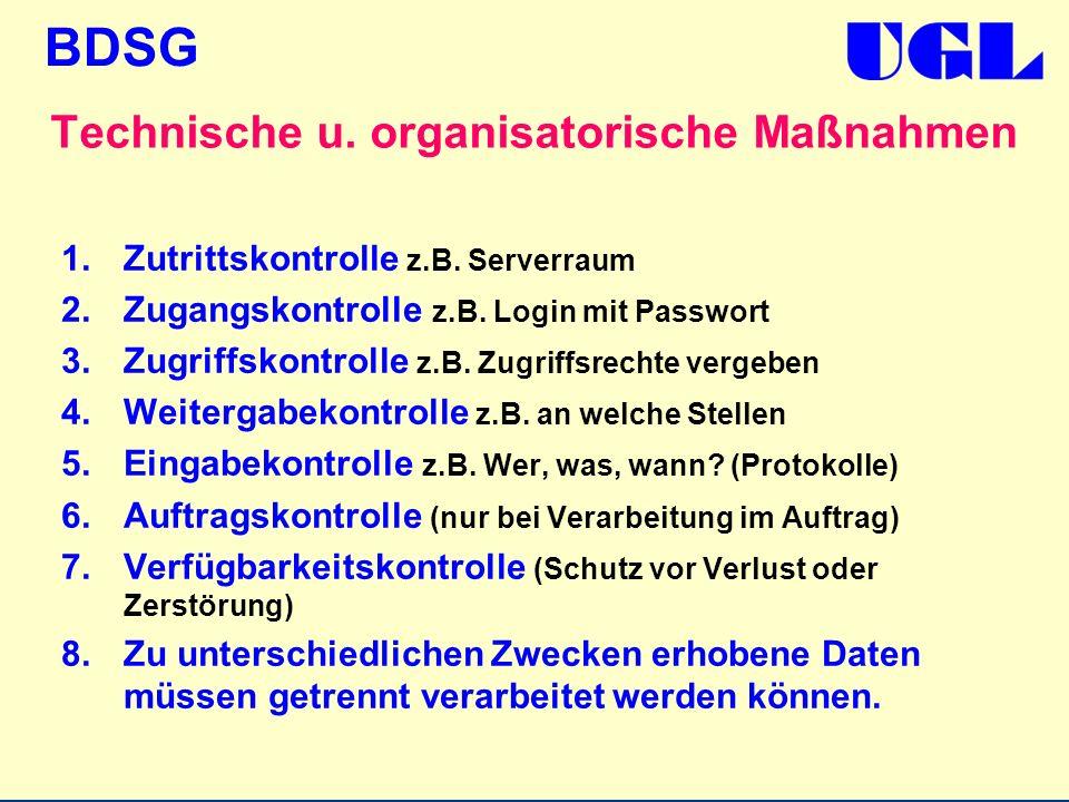Technische u. organisatorische Maßnahmen