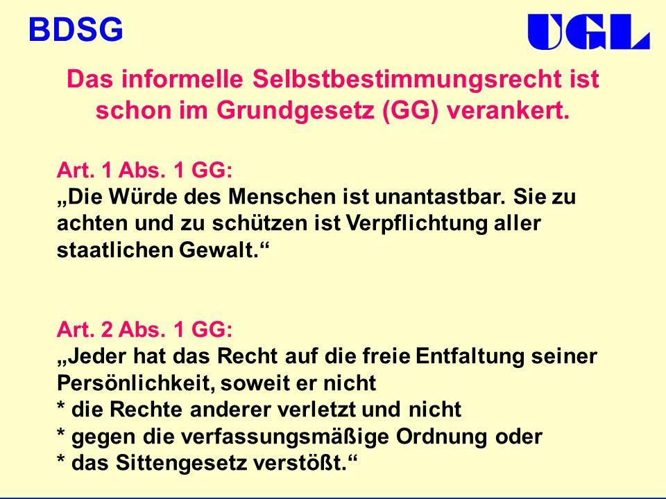 Das informelle Selbstbestimmungsrecht ist schon im Grundgesetz (GG) verankert.