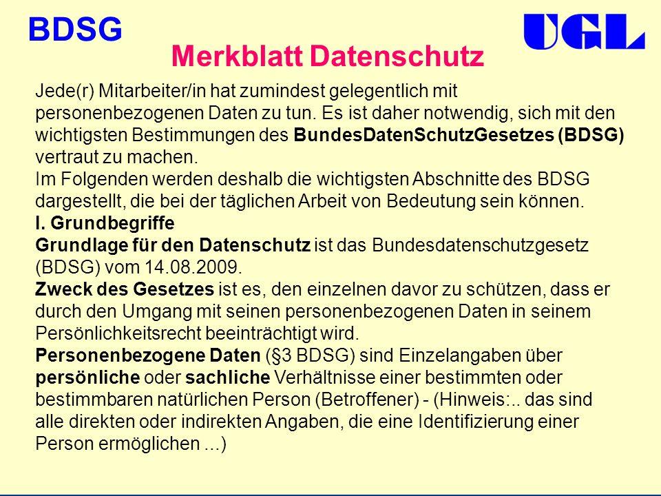 Merkblatt Datenschutz
