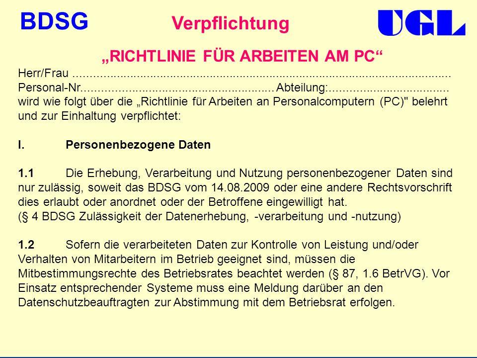 """""""RICHTLINIE FÜR ARBEITEN AM PC"""