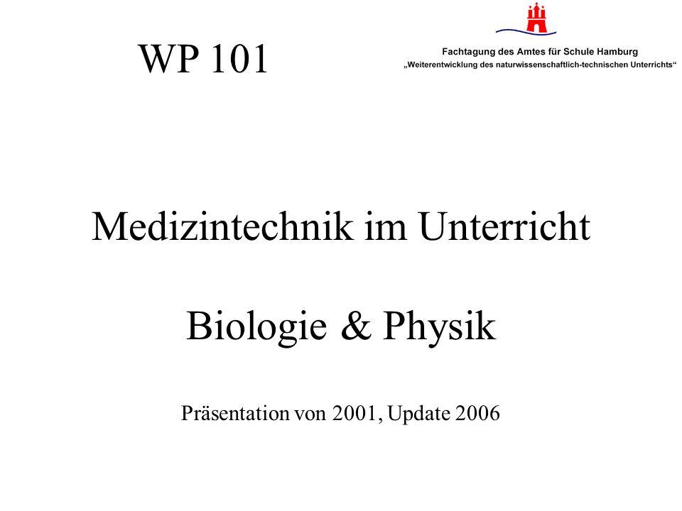 WP 101 Medizintechnik im Unterricht Biologie & Physik Präsentation von 2001, Update 2006