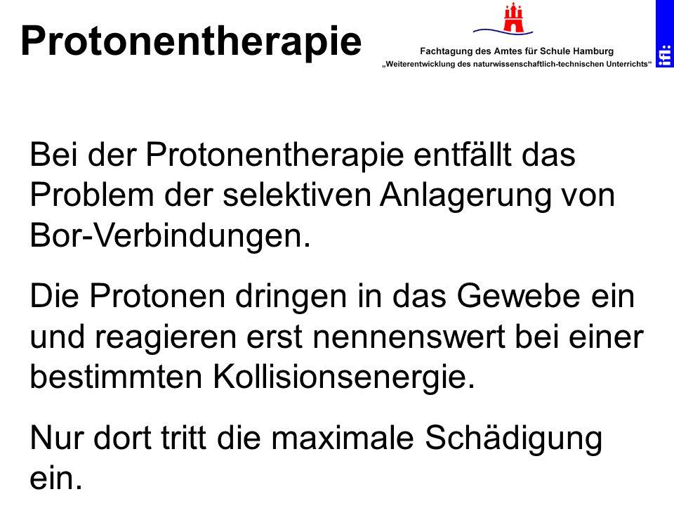 Protonentherapie Bei der Protonentherapie entfällt das Problem der selektiven Anlagerung von Bor-Verbindungen.
