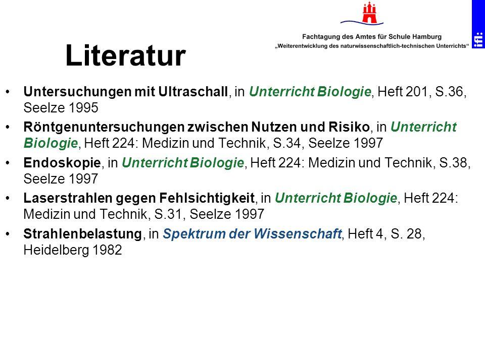 Literatur Untersuchungen mit Ultraschall, in Unterricht Biologie, Heft 201, S.36, Seelze 1995.