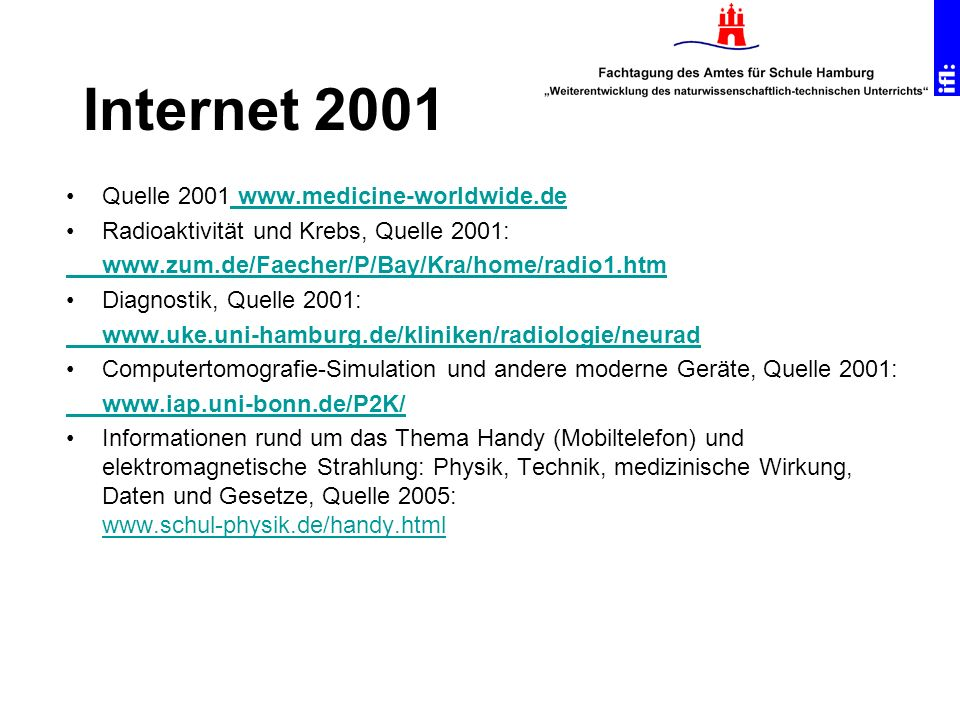Internet 2001 Quelle 2001 www.medicine-worldwide.de