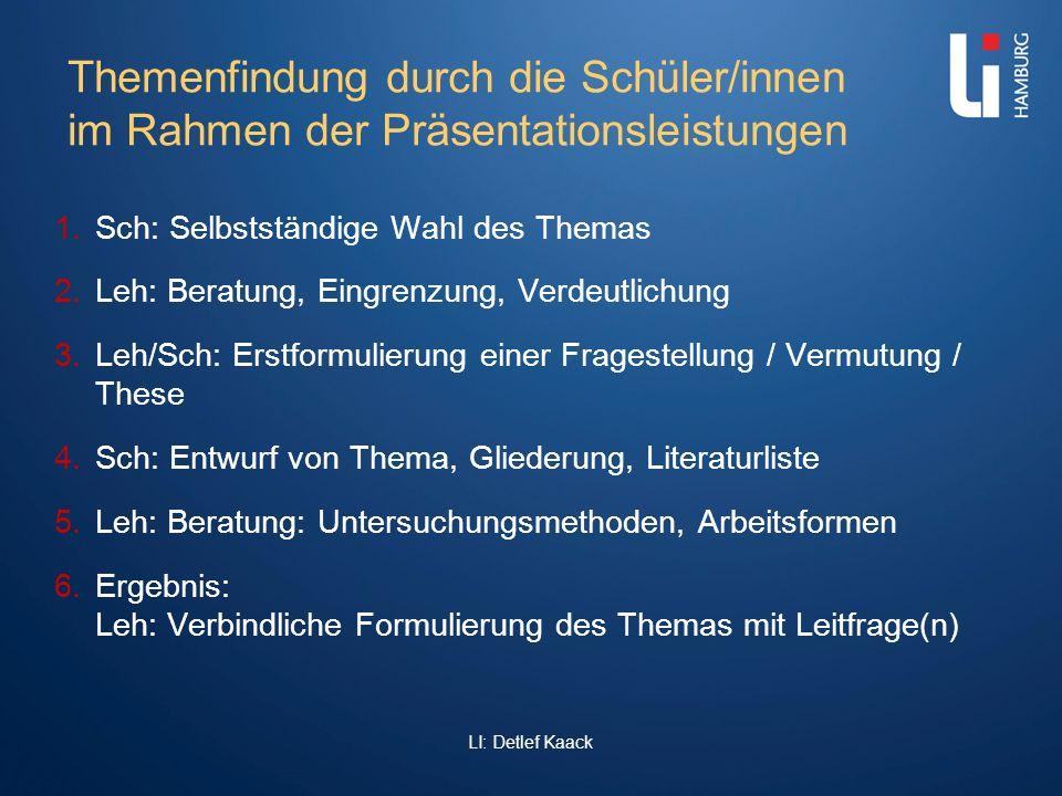 Themenfindung durch die Schüler/innen im Rahmen der Präsentationsleistungen