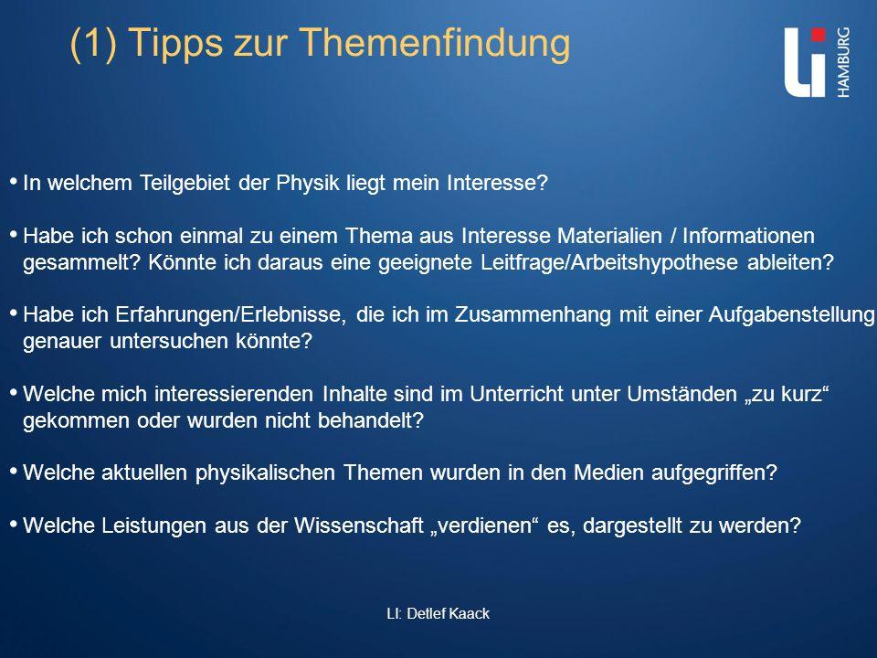 (1) Tipps zur Themenfindung