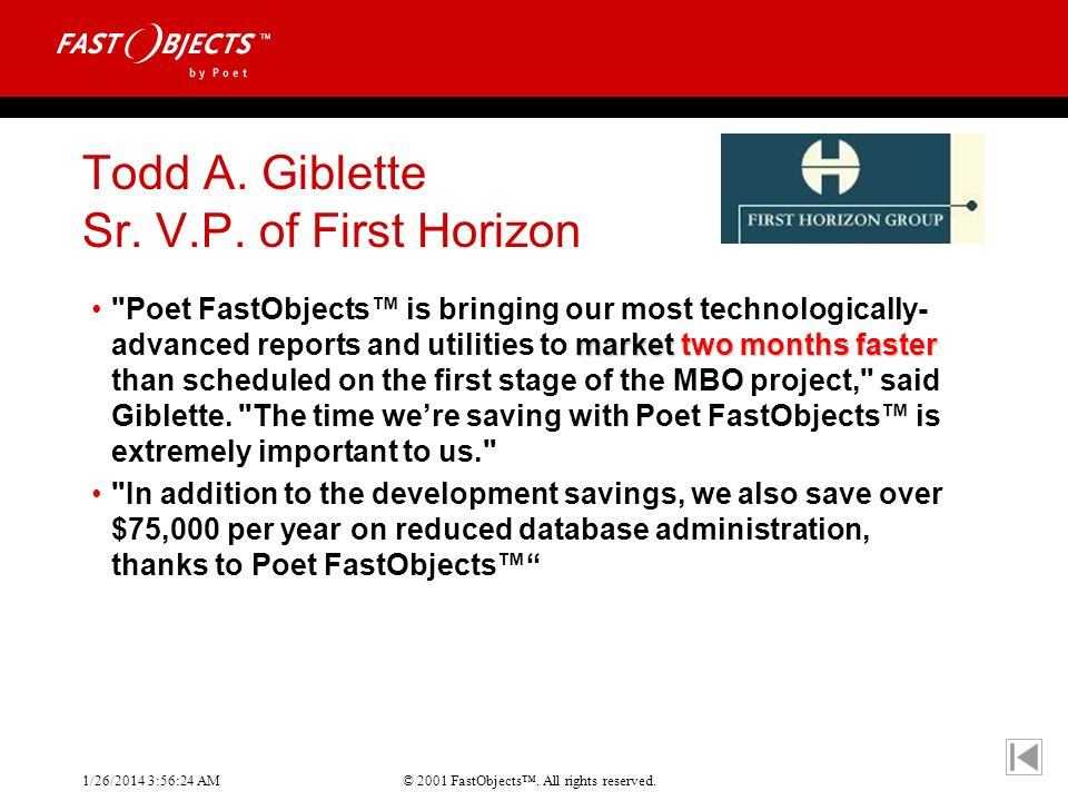 Todd A. Giblette Sr. V.P. of First Horizon