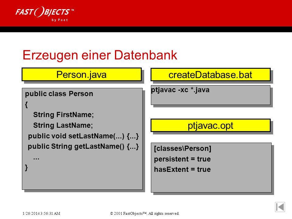 Erzeugen einer Datenbank