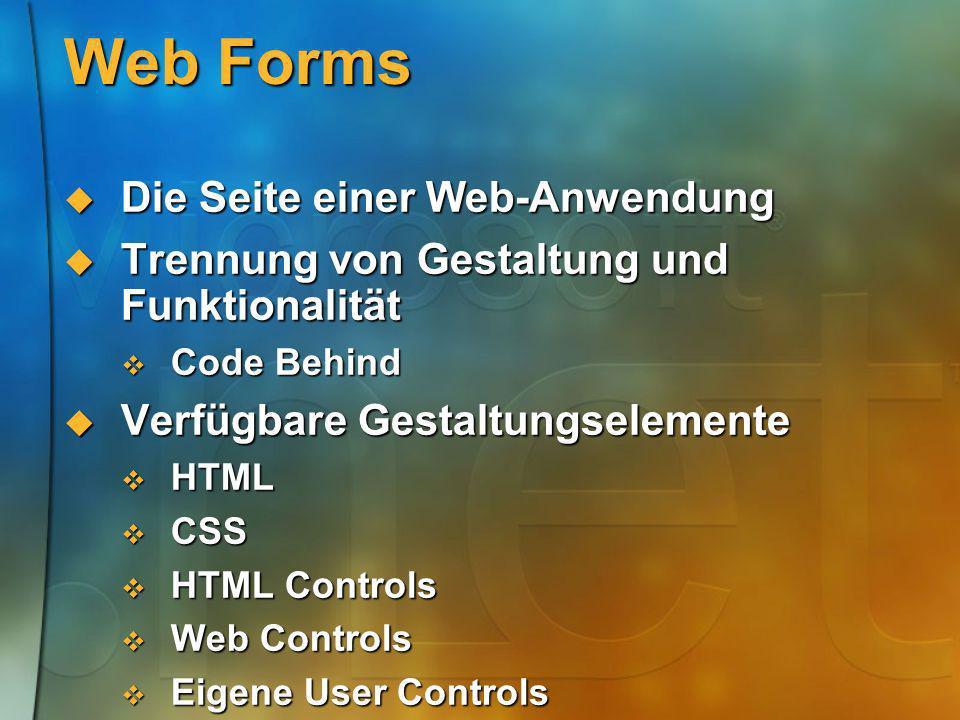 Web Forms Die Seite einer Web-Anwendung
