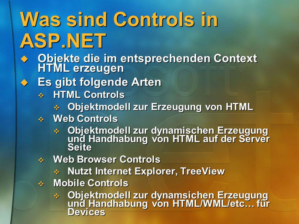 Was sind Controls in ASP.NET