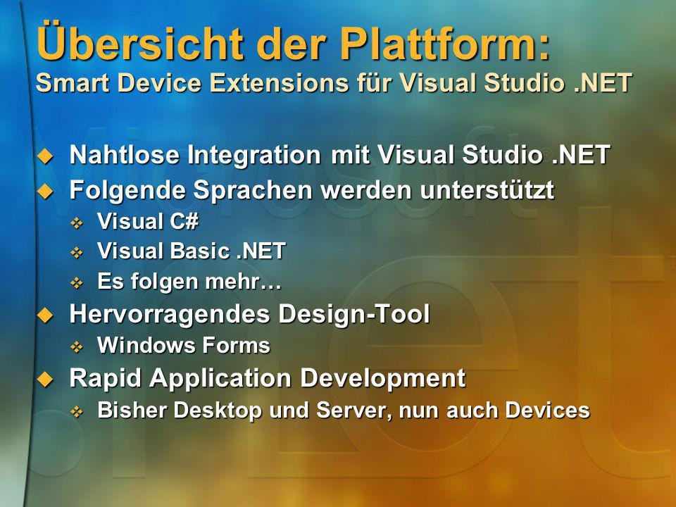 Übersicht der Plattform: Smart Device Extensions für Visual Studio .NET