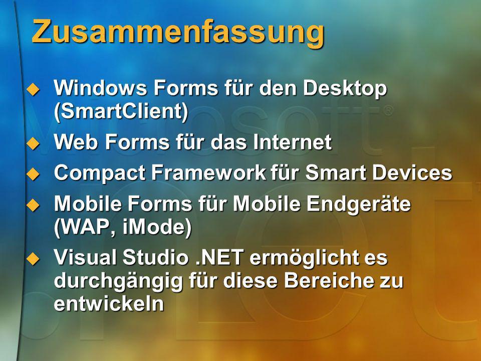 Zusammenfassung Windows Forms für den Desktop (SmartClient)