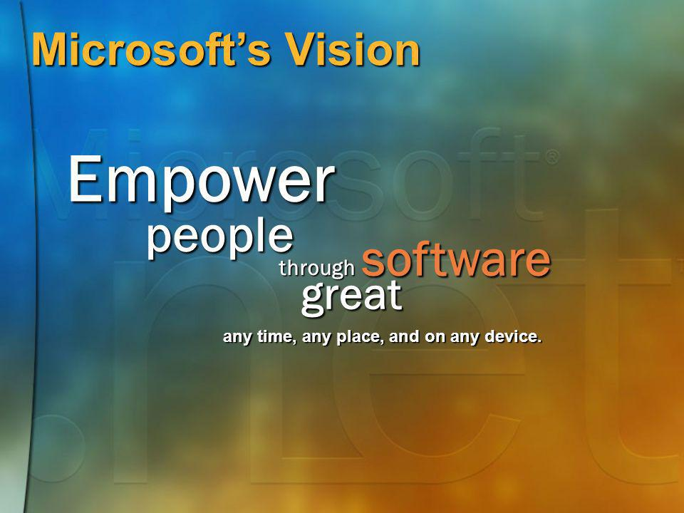Empower people software Microsoft's Vision great through