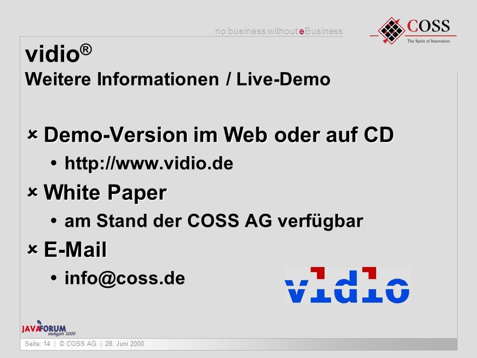 vidio® Weitere Informationen / Live-Demo