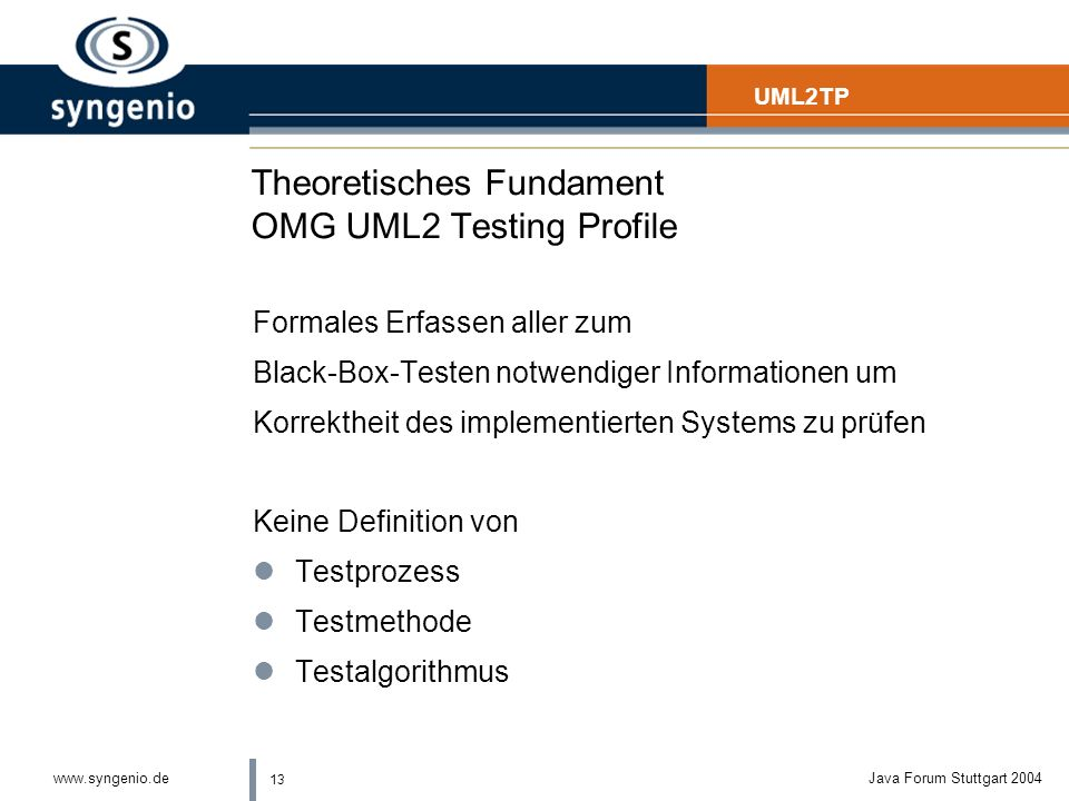Theoretisches Fundament OMG UML2 Testing Profile