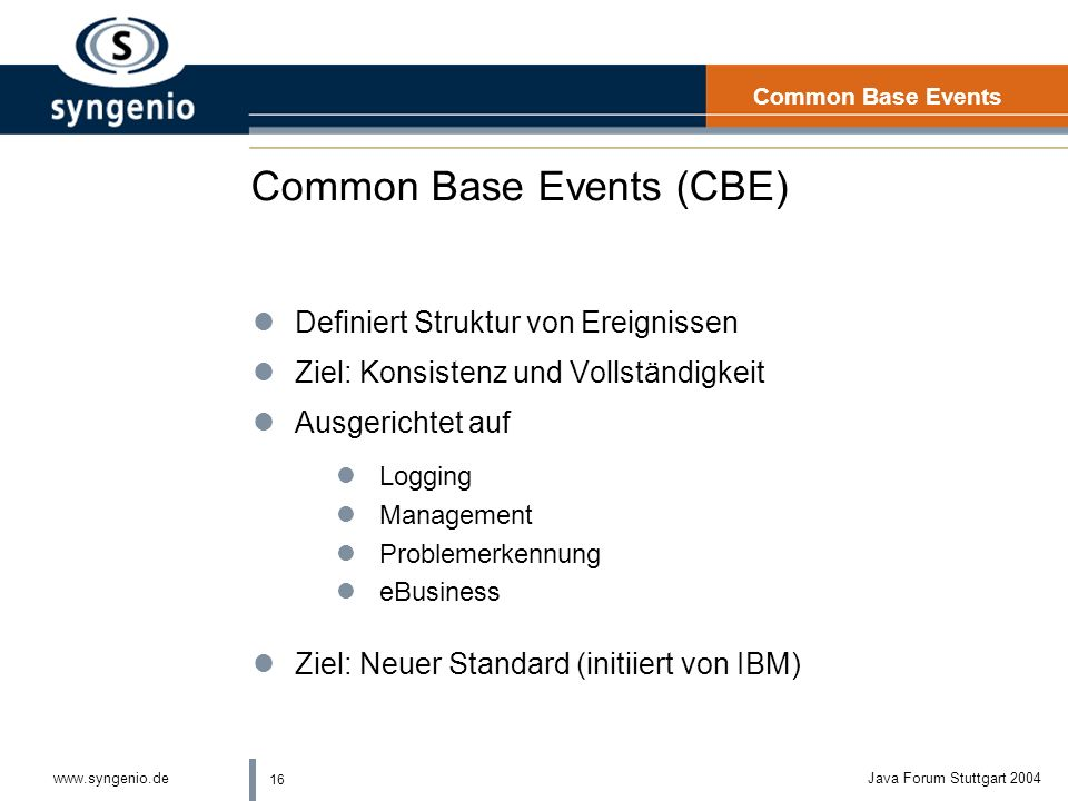 Common Base Events (CBE)