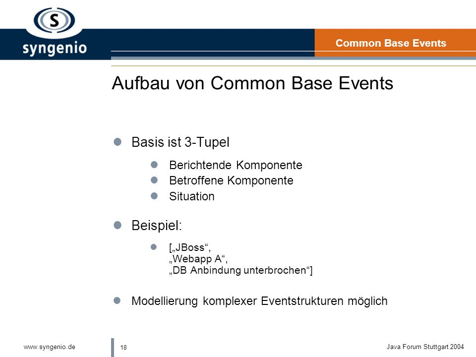 Aufbau von Common Base Events