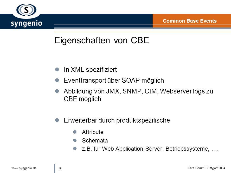 Eigenschaften von CBE In XML spezifiziert
