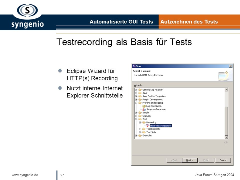 Testrecording als Basis für Tests