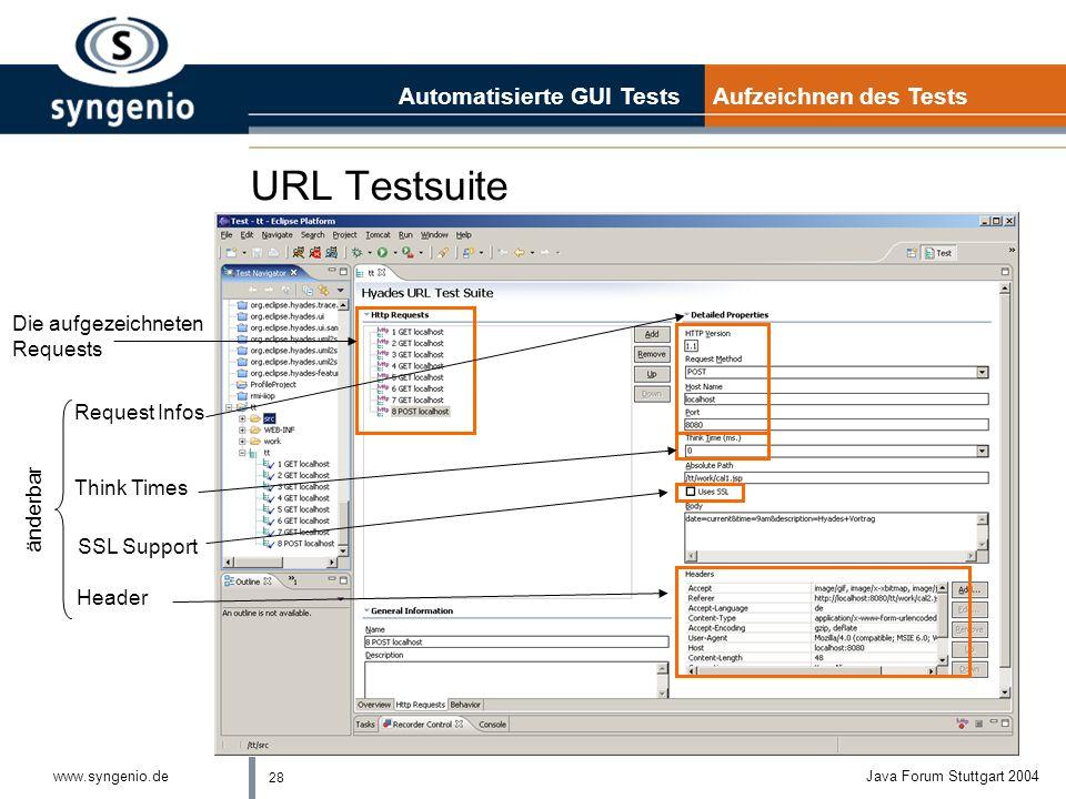 URL Testsuite Automatisierte GUI Tests Aufzeichnen des Tests