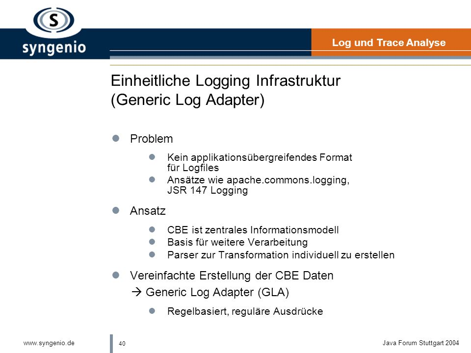 Einheitliche Logging Infrastruktur (Generic Log Adapter)